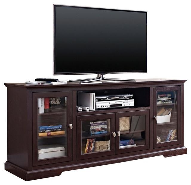 "70"" Black Wood Highboy Tv Stand - Transitional - Entertainment intended for Newest Highboy Tv Stands"