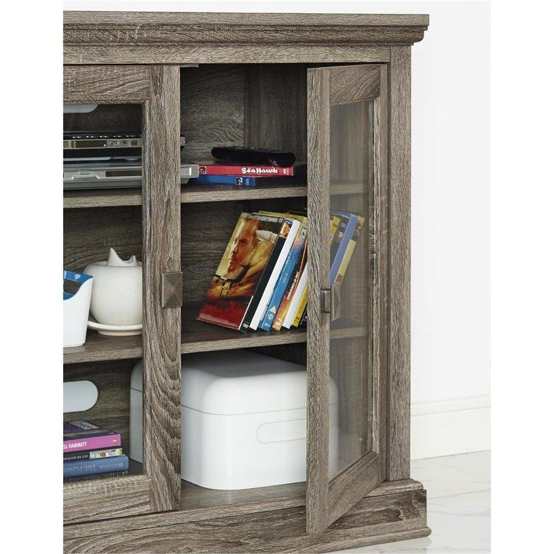 70'' Tv Stand With Glass Doors In Sonoma Oak – 1784096Pcom Intended For Latest Glass And Oak Tv Stands (Image 2 of 20)