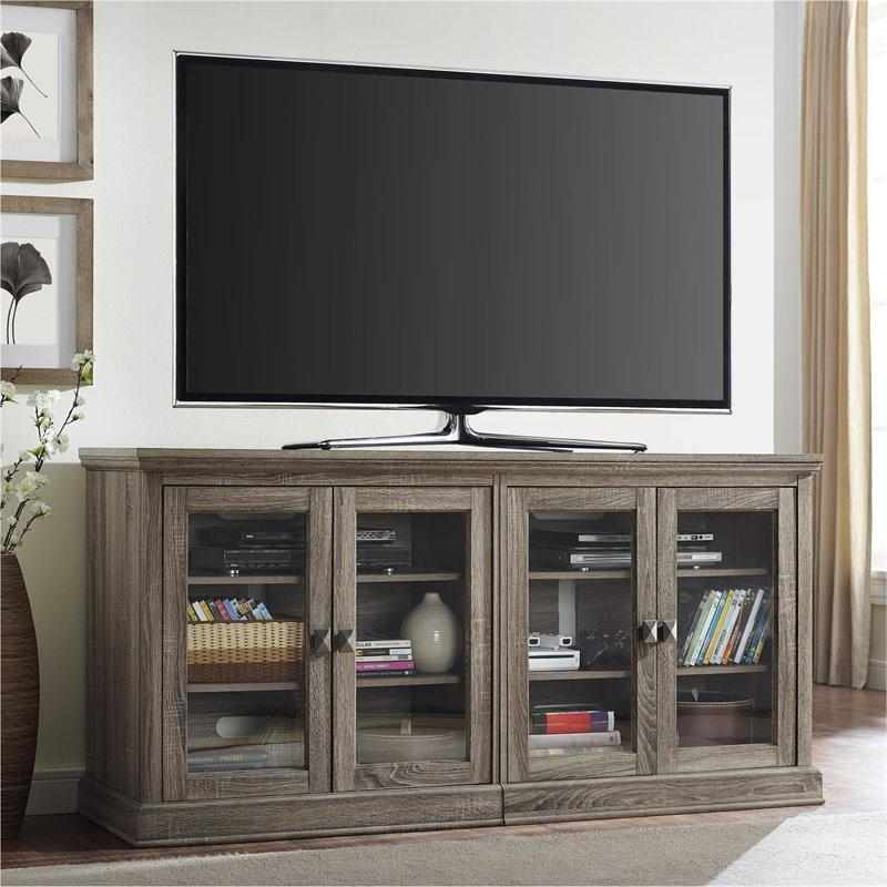 70'' Tv Stand With Glass Doors In Sonoma Oak - 1784096Pcom regarding Best and Newest Oak Tv Stands With Glass Doors