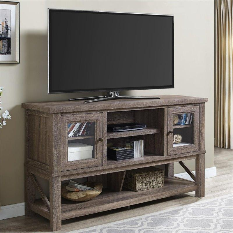 70'' Tv Stand With Glass Doors In Sonoma Oak – 1785096Com For 2017 Glass And Oak Tv Stands (Image 3 of 20)