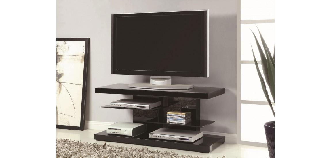 700840 Glass Shelves Black High Gloss Modern Tv Stand in Latest High Gloss Tv Cabinets