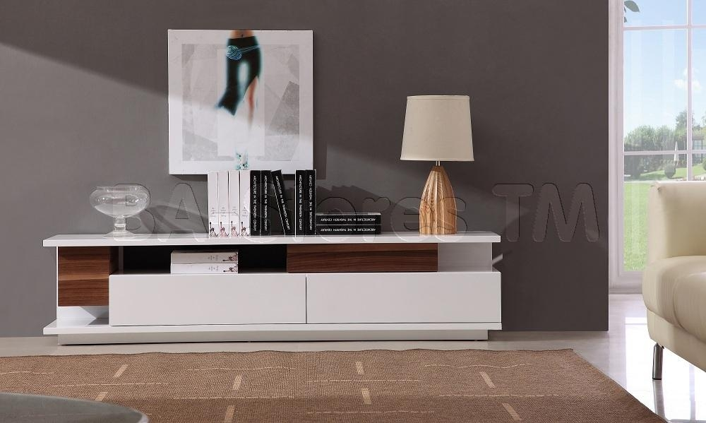 $746.30 Modern Tv061 Tv Stand In White High Gloss/ Walnut | T.v (View 11 of 20)