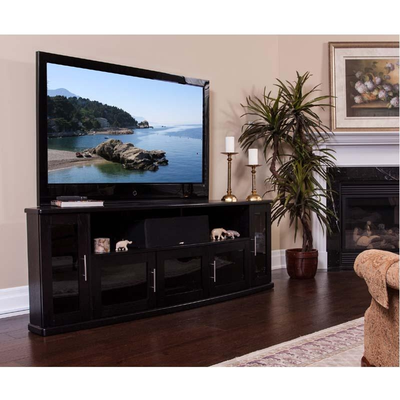 80 Inch Tv Stands Pueblo Black 80 Inch Tv Stand The Furniture Mart pertaining to Most Up-to-Date 80 Inch Tv Stands