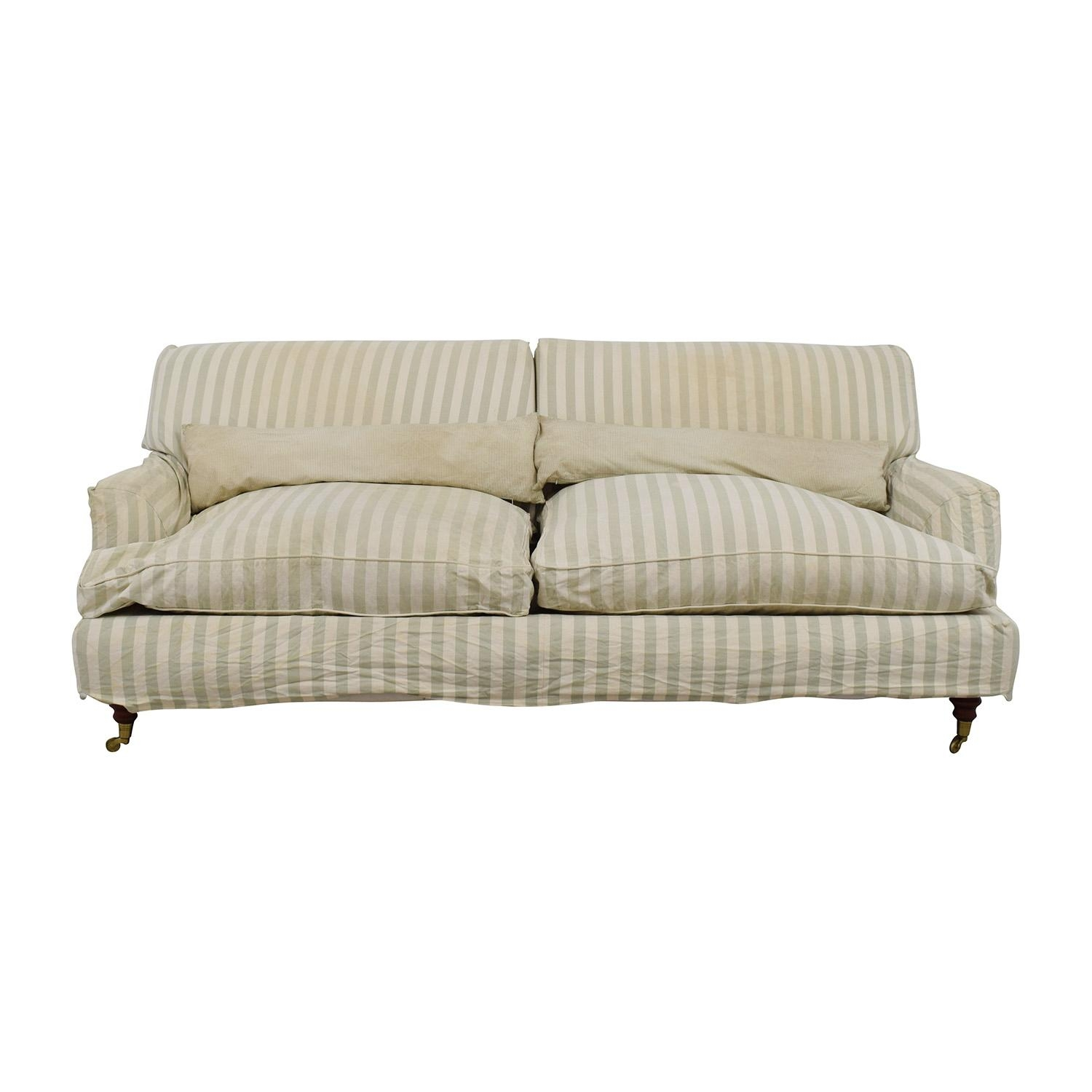 85% Off – Green And White Striped English Roll Arm Sofa / Sofas For Classic English Sofas (Image 2 of 21)