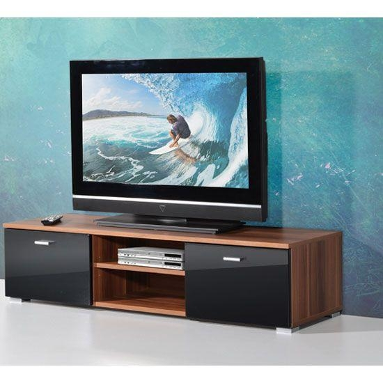 87 Best Plasma Units Images On Pinterest | Tv Units, Drawers And within Newest Walnut and Black Gloss Tv Unit