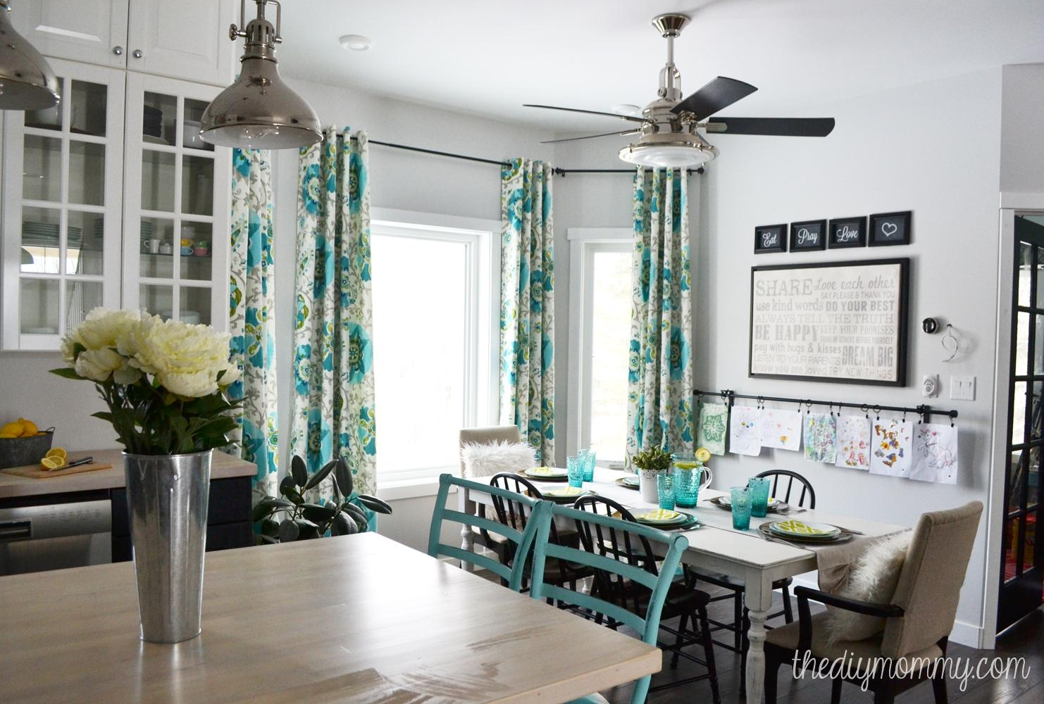 A Black, White And Turquoise Diy Kitchen Design With Ikea Cabinets Inside Diy Industrial Wall Art (Image 2 of 20)
