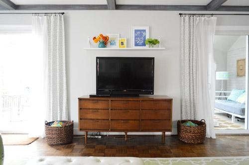 A Cheap & Easy Shelf For That Blank Spot Over The Tv | Young House In Newest Over Tv Shelves (Image 1 of 20)