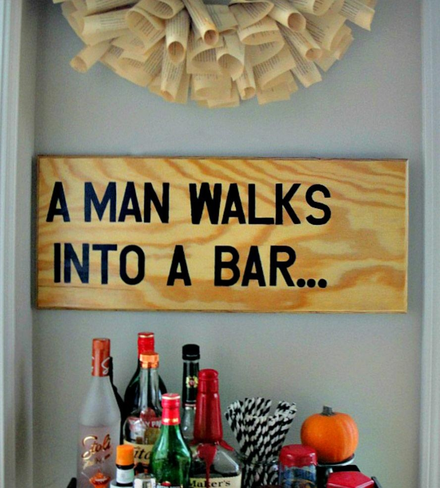 A Man Walks Into A Bar Wood Wall Art | Art Art Pieces | Canton Box Throughout Box Signs Wall Art (Image 5 of 20)