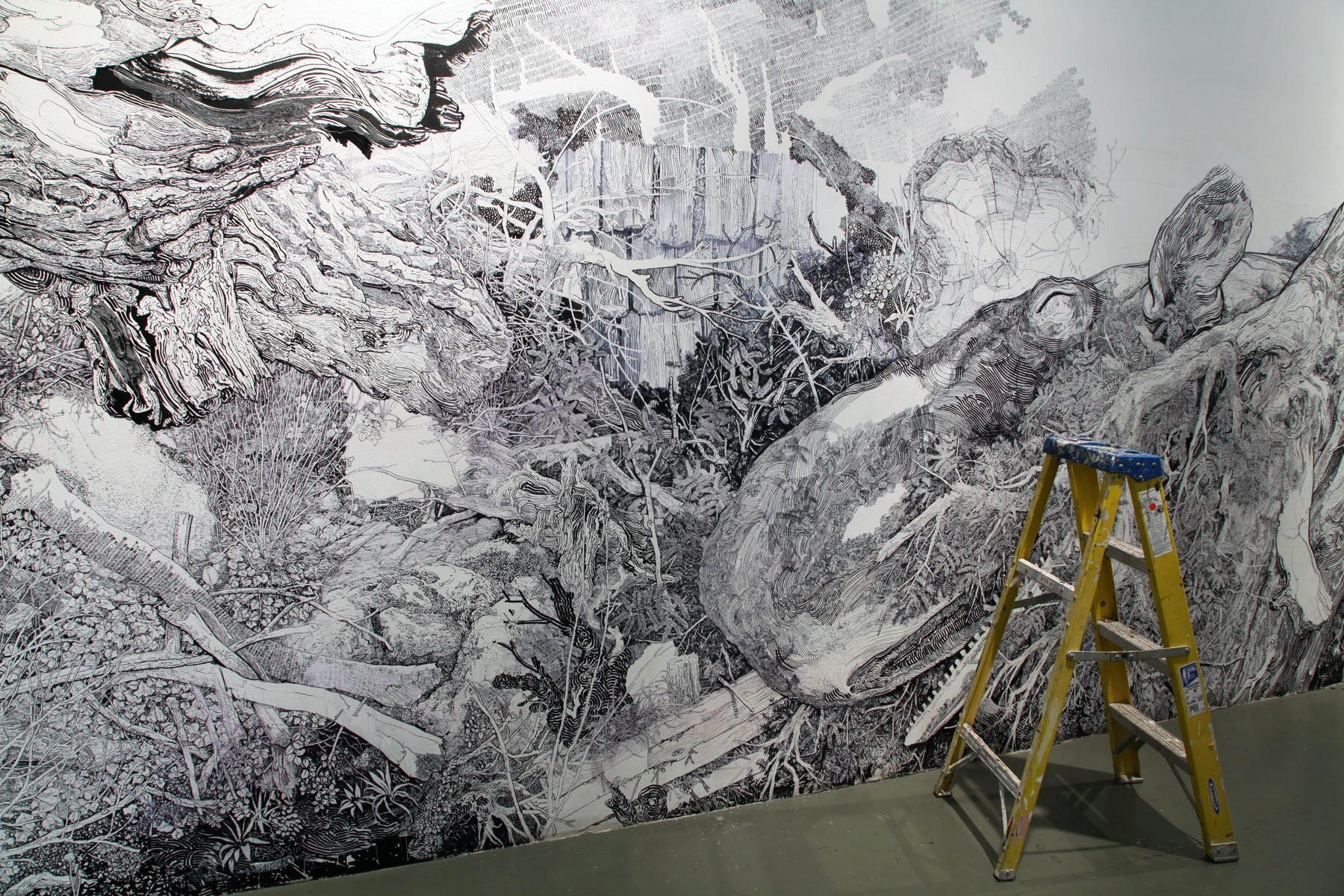 A Sprawling Wall Sized Mural Drawn With Only A Black Sharpie Regarding Sharpie Wall Art (Image 2 of 20)