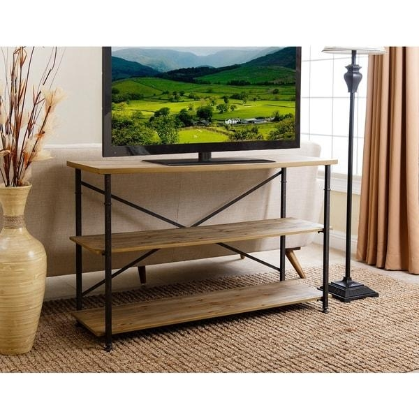 Abbyson Distressed Iron Industrial Tv Stand – Free Shipping Today Pertaining To 2018 Industrial Tv Stands (View 12 of 20)