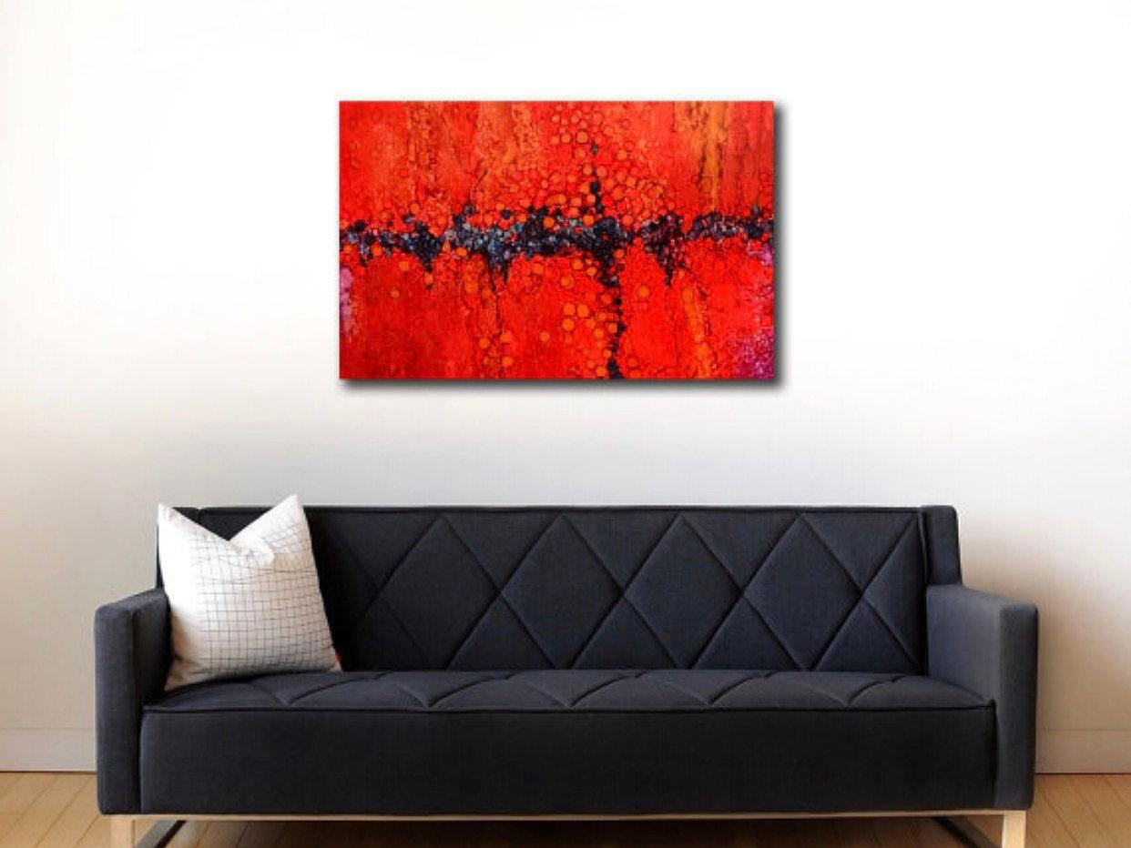 Abstract Art Paintings Original Abstract Wall Artzarasshop Regarding Red And Black Canvas Wall Art (Image 5 of 20)