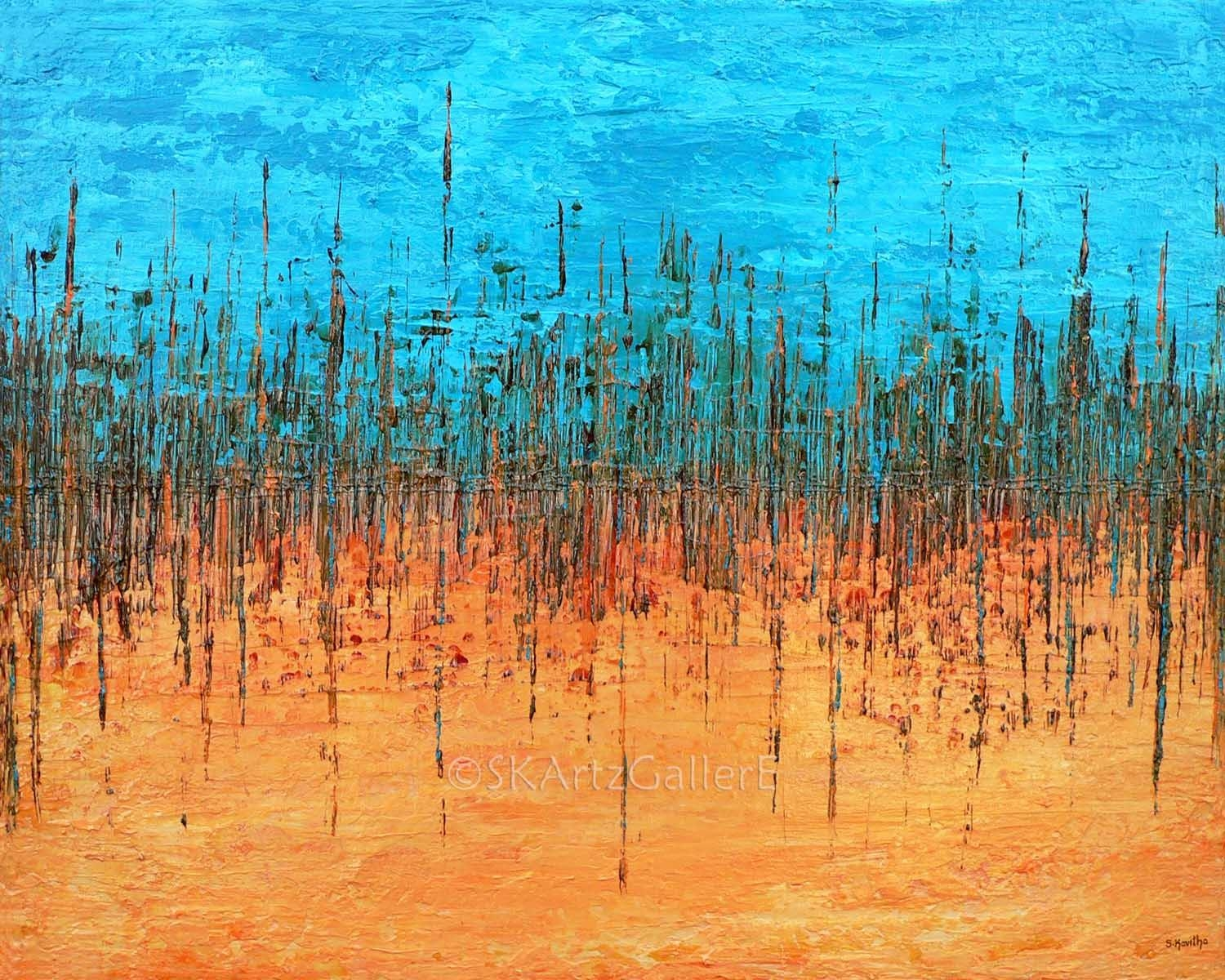 Abstract Art Print Orange Blue Wall Art Giclee Print Of Within Orange And Blue Wall Art (Photo 12 of 20)