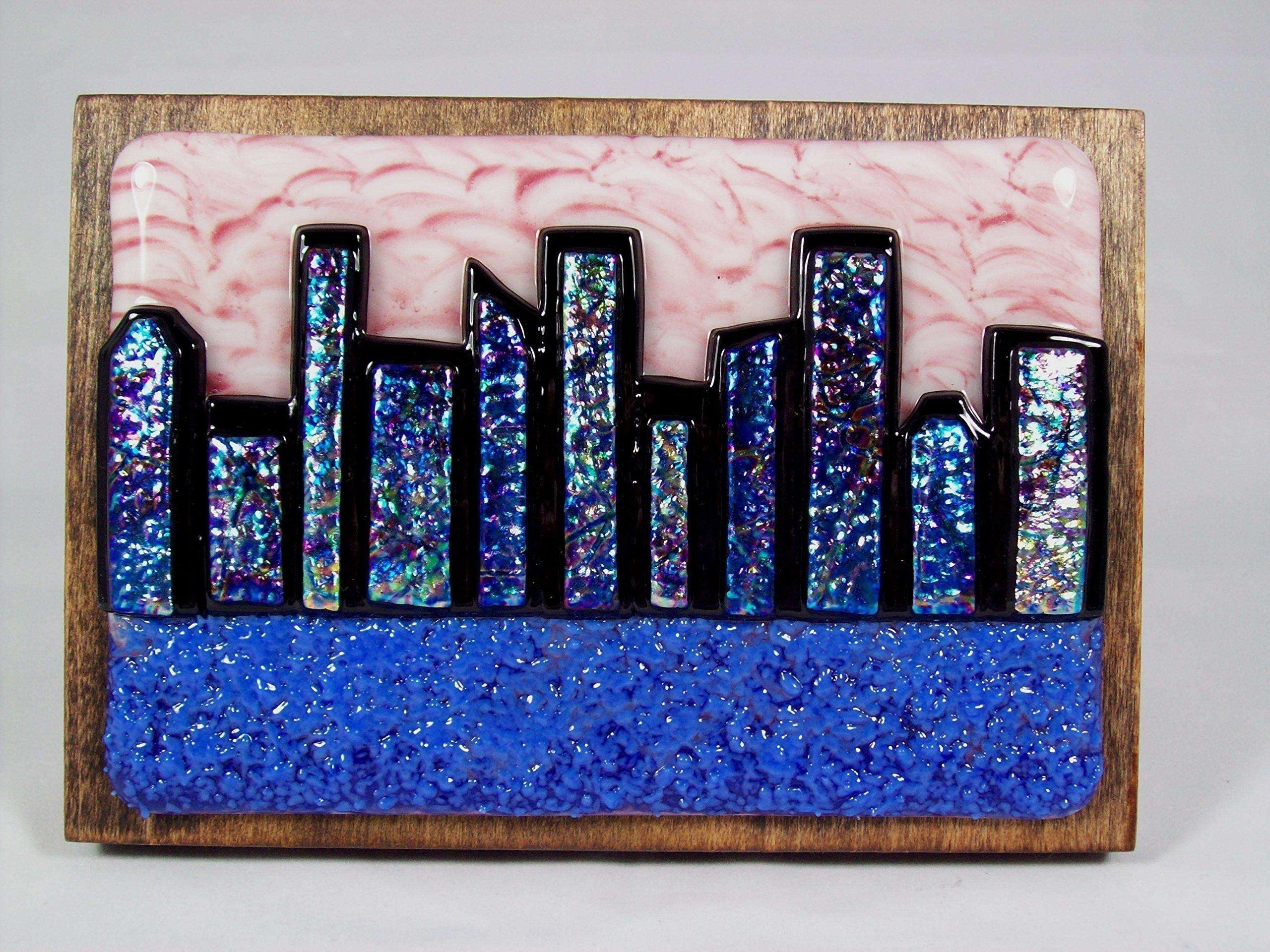 "Abstract City Skyline 2"" Handmade Fused Glass Wall Art (Ws68 With Regard To Abstract Fused Glass Wall Art (View 5 of 20)"