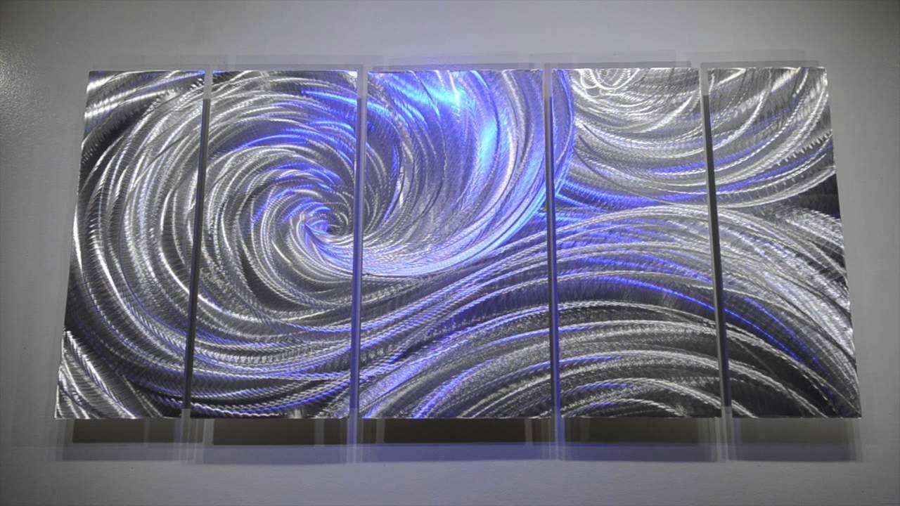Abstract Metal Art Modern Hand Made Sculpture Wall Decor 3D Led Regarding Metal Art For Walls (Image 1 of 20)