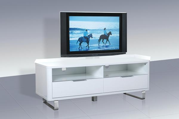 Accent White High Gloss Low Sideboard/tv Unit, Beds Direct For 2017 White High Gloss Corner Tv Unit (Image 1 of 20)