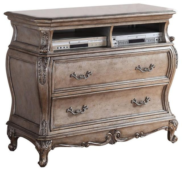 Acme Chantelle Old World Style Tv Console, Antique Platinum With Regard To Most Up To Date Antique Style Tv Stands (Image 1 of 20)