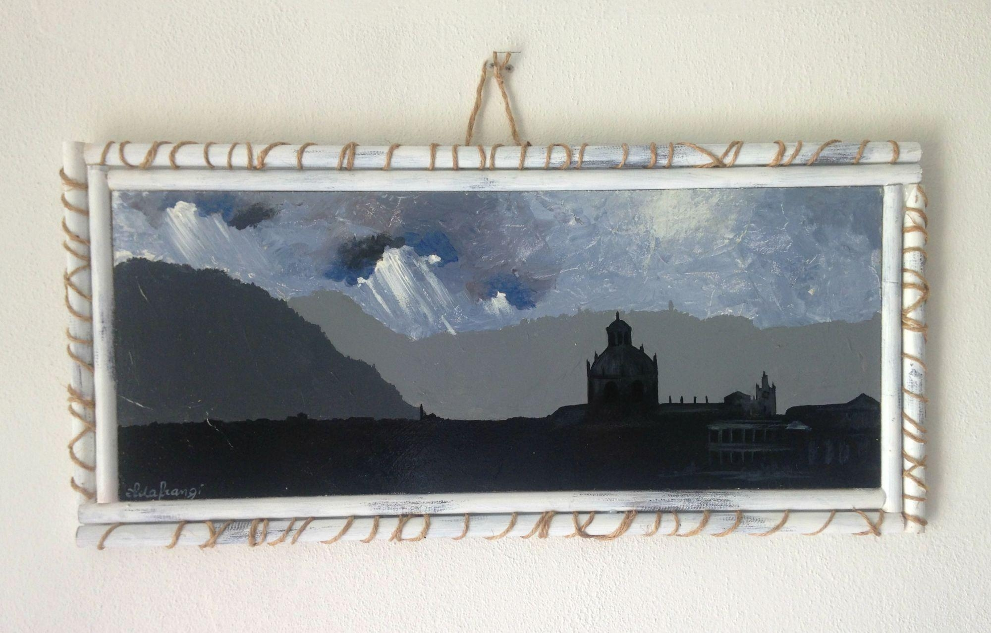 Acrylic Landscape Painting Of Como City In Italy/ Original Wall In Italian Wood Wall Art (Image 1 of 20)