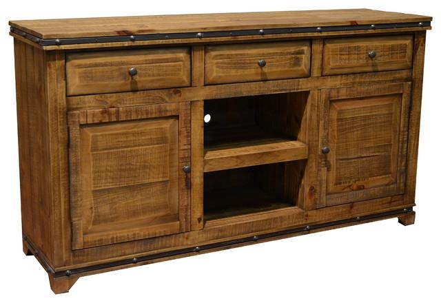 Addison Solid Wood Tv Stand Media Console – Rustic – Entertainment Throughout Most Recently Released Wooden Tv Stands With Doors (Image 3 of 20)