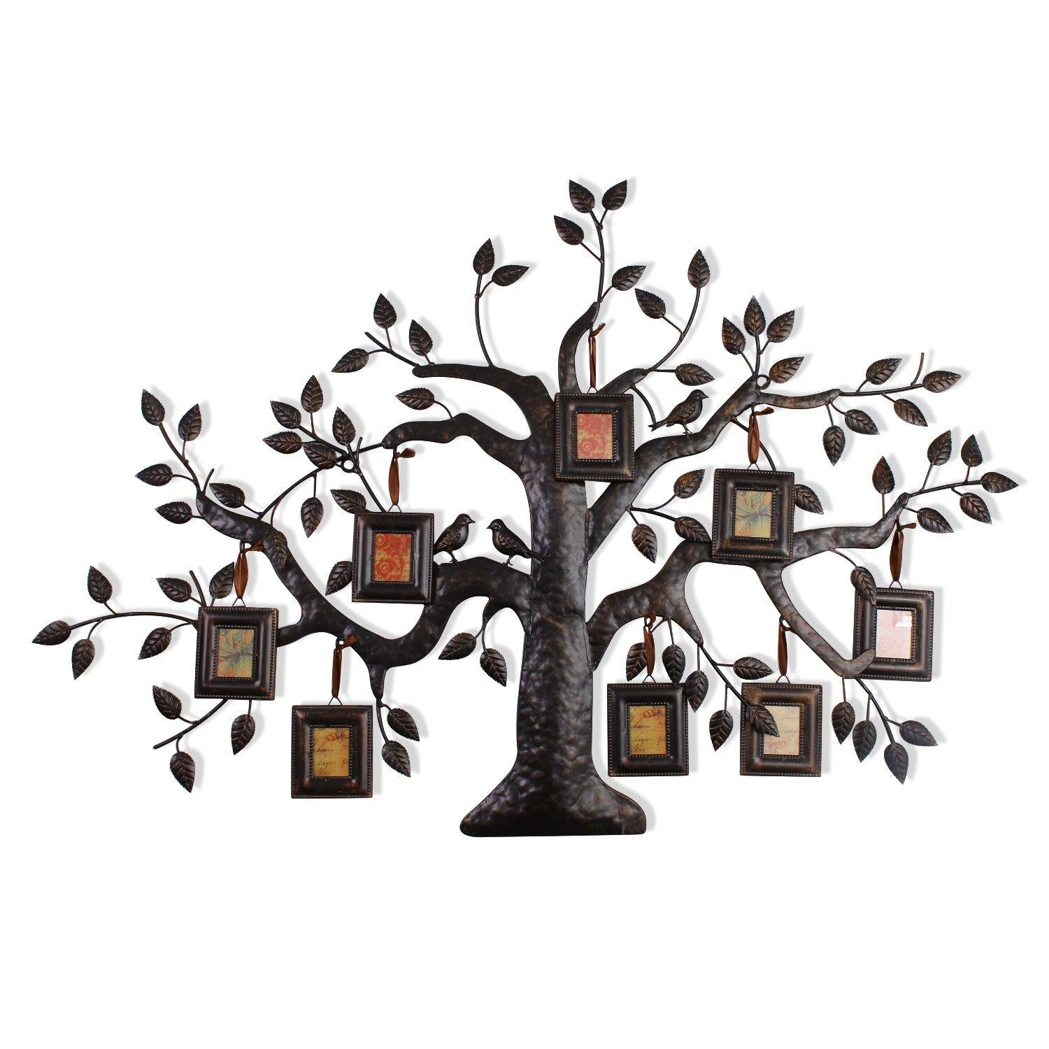 Adeco Brown Black Decorative Collage Family Tree Bronze Iron Metal Within Family Wall Art Picture Frames (View 13 of 20)