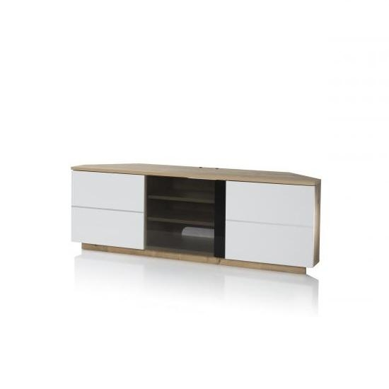 Adele Corner Tv Stand In Oak With Glass And White Gloss With Most Current White Gloss Corner Tv Stand (Image 1 of 20)