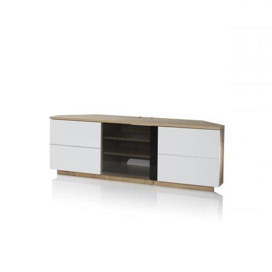 Adele Corner Tv Stand In Oak With Glass And White Gloss With Regard To Best And Newest Corner Tv Unit White Gloss (View 2 of 20)