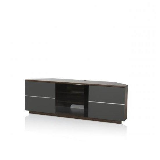 Adele Corner Tv Stand In Walnut With Glass And Matt Grey Regarding Most Recent Black Corner Tv Cabinets With Glass Doors (Image 3 of 20)