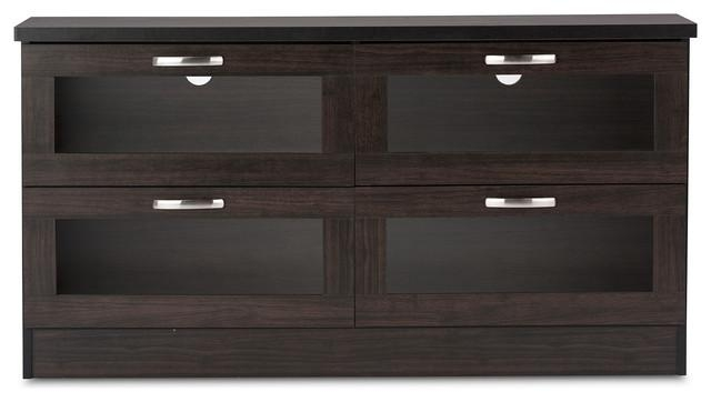 Adelino Wood Tv Cabinet With 4 Glass Doors, Dark Brown, (View 10 of 20)