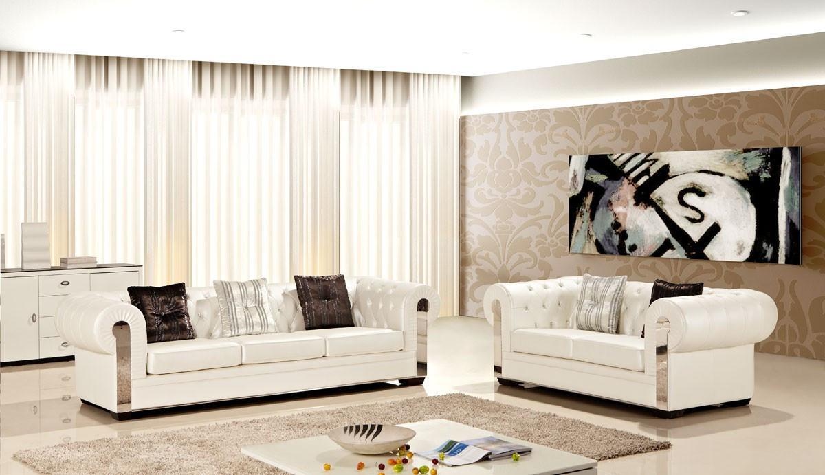 Ae2608 I Living Room Ivory Leather Sofa Set 2 Pcs – Slick Pertaining To Ivory Leather Sofas (Image 2 of 20)