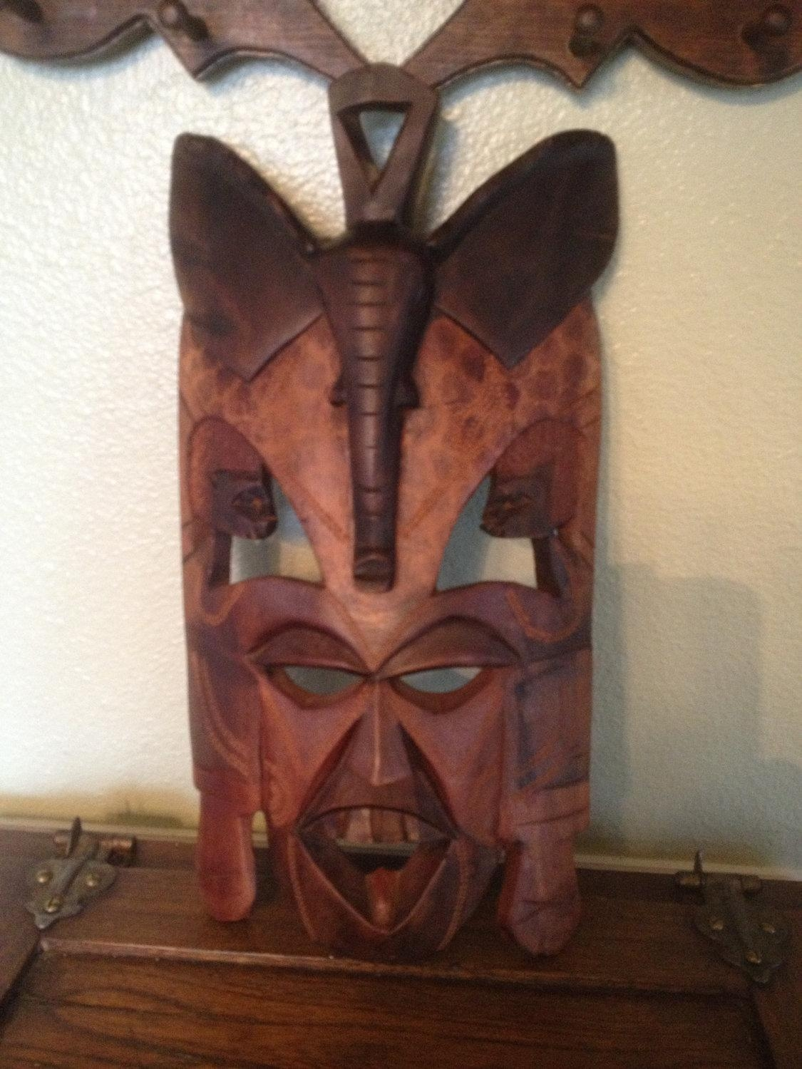 African Masks: Sale Hand Carved Elephant Mask Wall Hanging Within Wooden Tribal Mask Wall Art (Image 6 of 20)