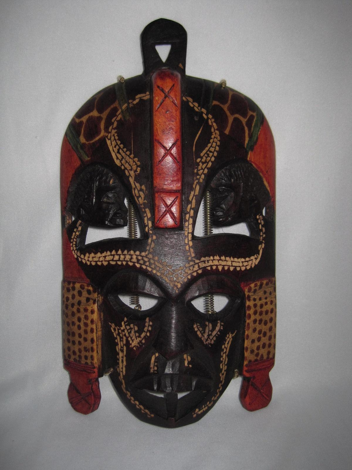 African Tribal Mask Wall Art Kenya Hand Carved Painted Wood Inside Wooden Tribal Mask Wall Art (Image 7 of 20)