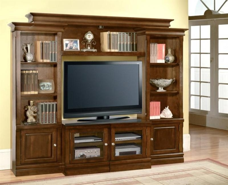 Afton 43 60 Inch Tv 4 Piece Premier Wall Unit In Espresso Finish Intended For Most Current 60 Inch Tv Wall Units (Image 3 of 20)
