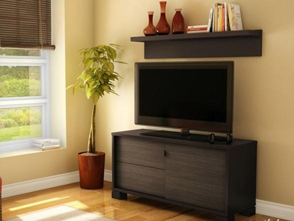 Agora Tv Stand With Wall Shelf Regarding Newest Over Tv Shelves (Image 2 of 20)