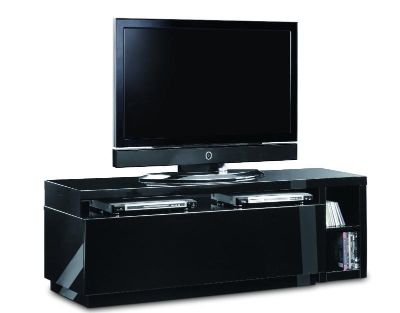 Aina Modern High Gloss Black Designer Tv Cabinet Within Newest Shiny Black Tv Stands (Image 3 of 20)