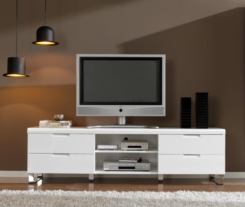 Alamo, Contemporary White High Gloss And Chrome Tv Unit With Newest High Gloss White Tv Cabinets (Image 2 of 20)