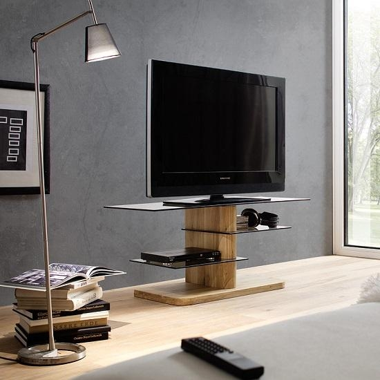 Alan Glass Tv Stand In Grey With Solid Oak Base 27570 With Most Popular Glass And Oak Tv Stands (Image 4 of 20)