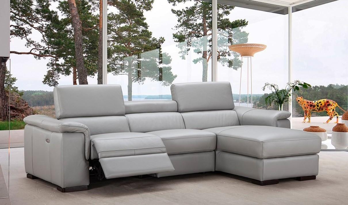 Alba Premium Leather Sectional Sofa In Light Grey | Free Shipping In Gray Leather Sectional Sofas (Image 1 of 21)