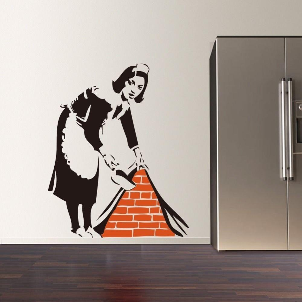 Aliexpress : Buy 2016 New Banksy French Maid Vinyl Wall Decal Throughout Street Wall Art Decals (Image 1 of 20)