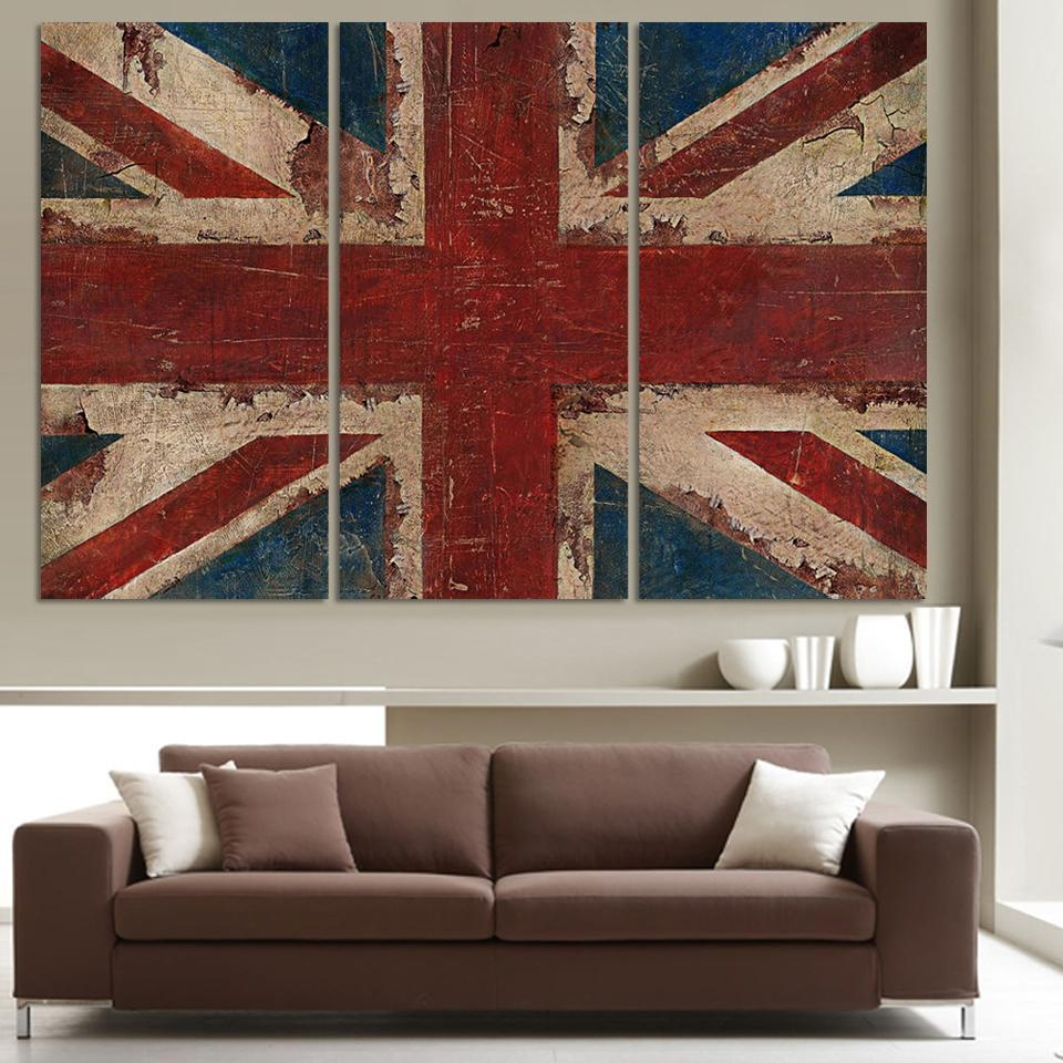 Aliexpress : Buy 3 Piece The Union Flag In Red White And Blue Within Red White And Blue Wall Art (Image 1 of 20)