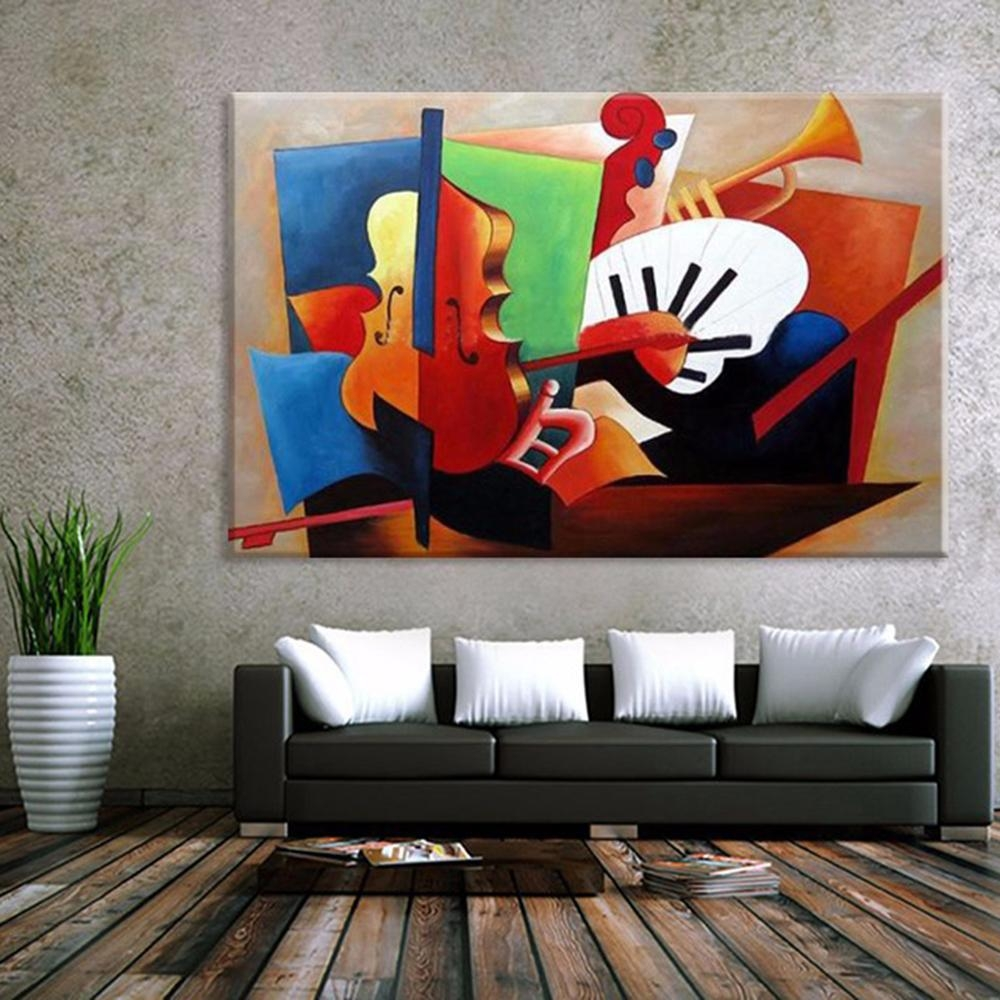 Aliexpress : Buy Abstract Musical Instruments Oil Painting In Abstract Art Wall Murals (Image 2 of 20)