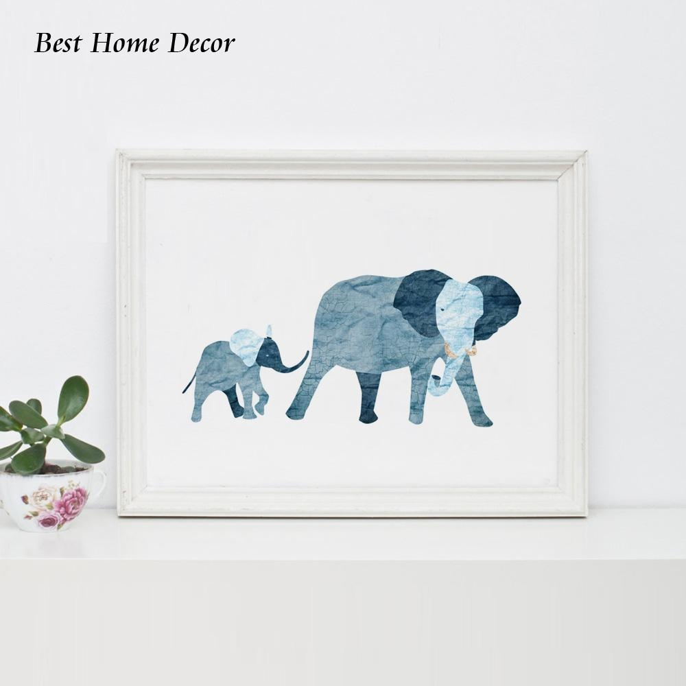 Aliexpress : Buy Baby Blue Elephant Art Print Nursery Art Blue For Elephant Wall Art For Nursery (Image 2 of 20)
