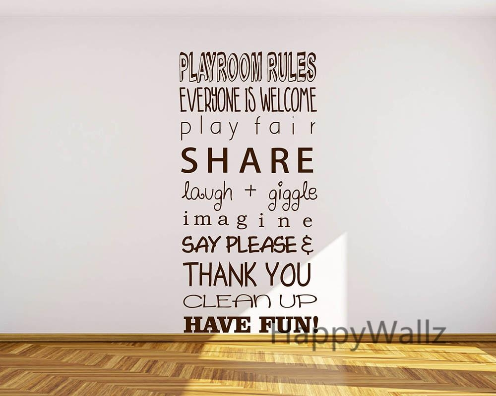 Aliexpress : Buy Baby Nursery Quote Wall Sticker Playroom Throughout Playroom Rules Wall Art (Image 3 of 20)