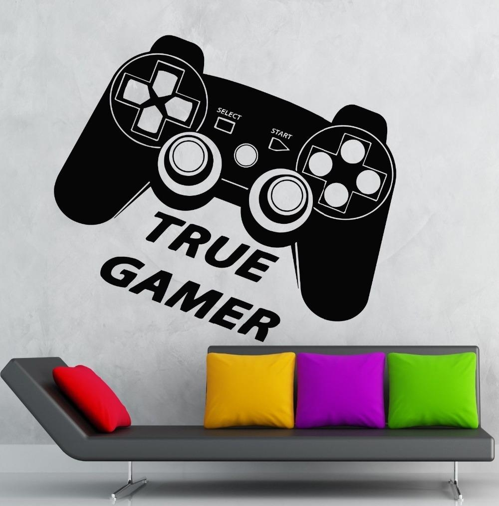 Aliexpress : Buy Boys Game Room Vinyl Wall Decal True Gamer Within Wall Art For Game Room (View 6 of 20)