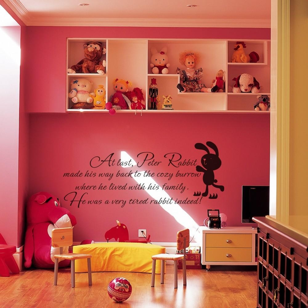 Aliexpress : Buy Children Wall Quote Peter Rabbit Baby Nursery Inside Peter Rabbit Nursery Wall Art (Image 1 of 20)