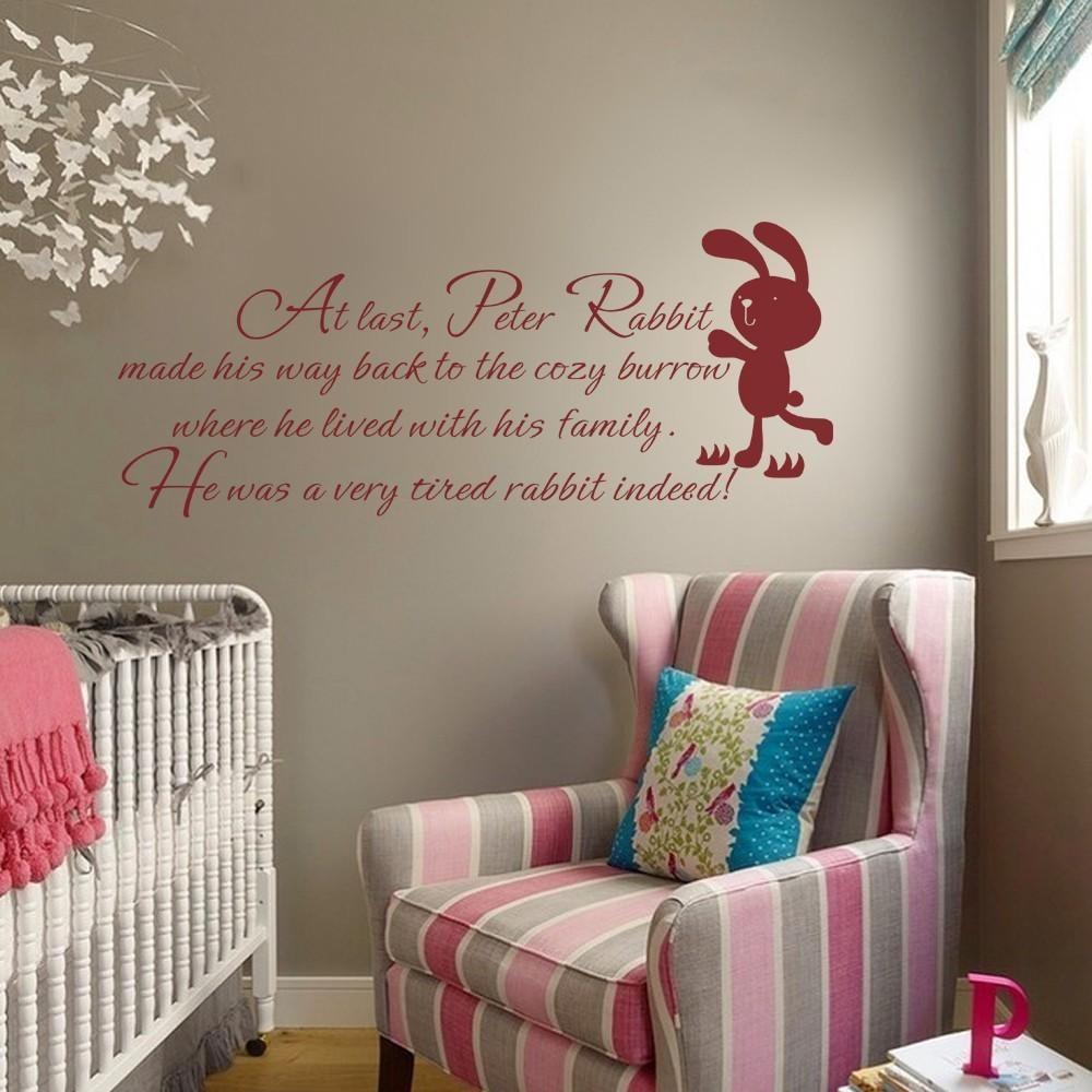 Aliexpress : Buy Children Wall Quote Peter Rabbit Baby Nursery Regarding Peter Rabbit Nursery Wall Art (Image 3 of 20)