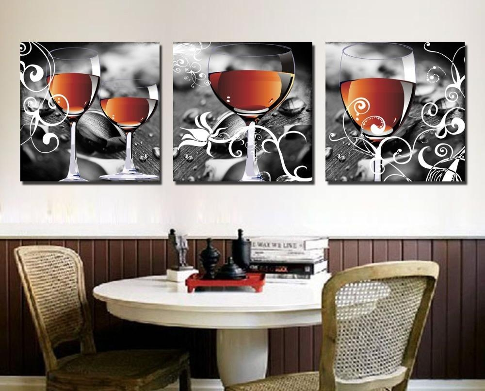 Aliexpress : Buy Cuadros Decoracion Household Wine Glasses 3 Throughout Canvas Wall Art For Dining Room (Image 2 of 20)