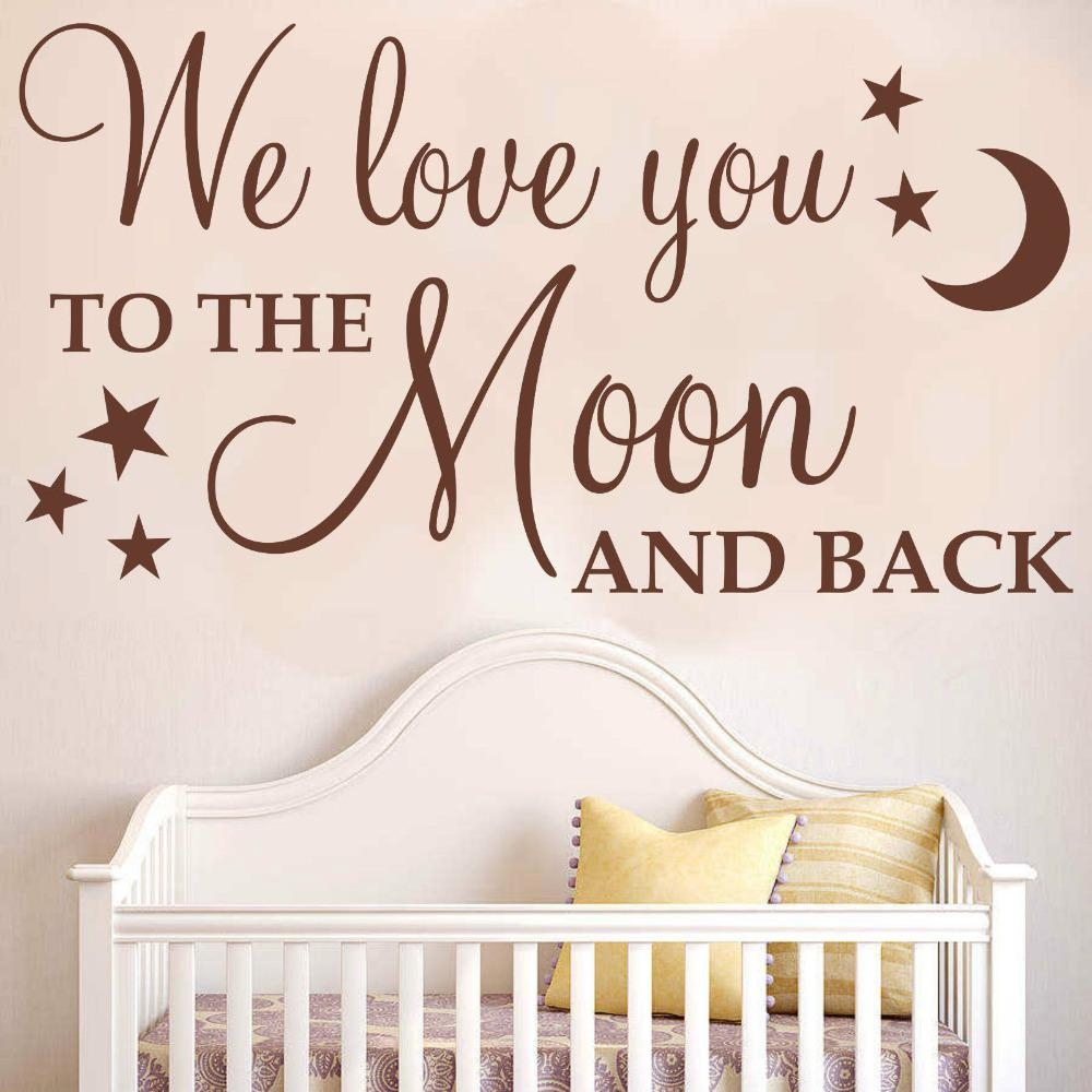 """Aliexpress : Buy Diy Removable Wall Stickers """"we Love You To Pertaining To Love You To The Moon And Back Wall Art (View 3 of 20)"""