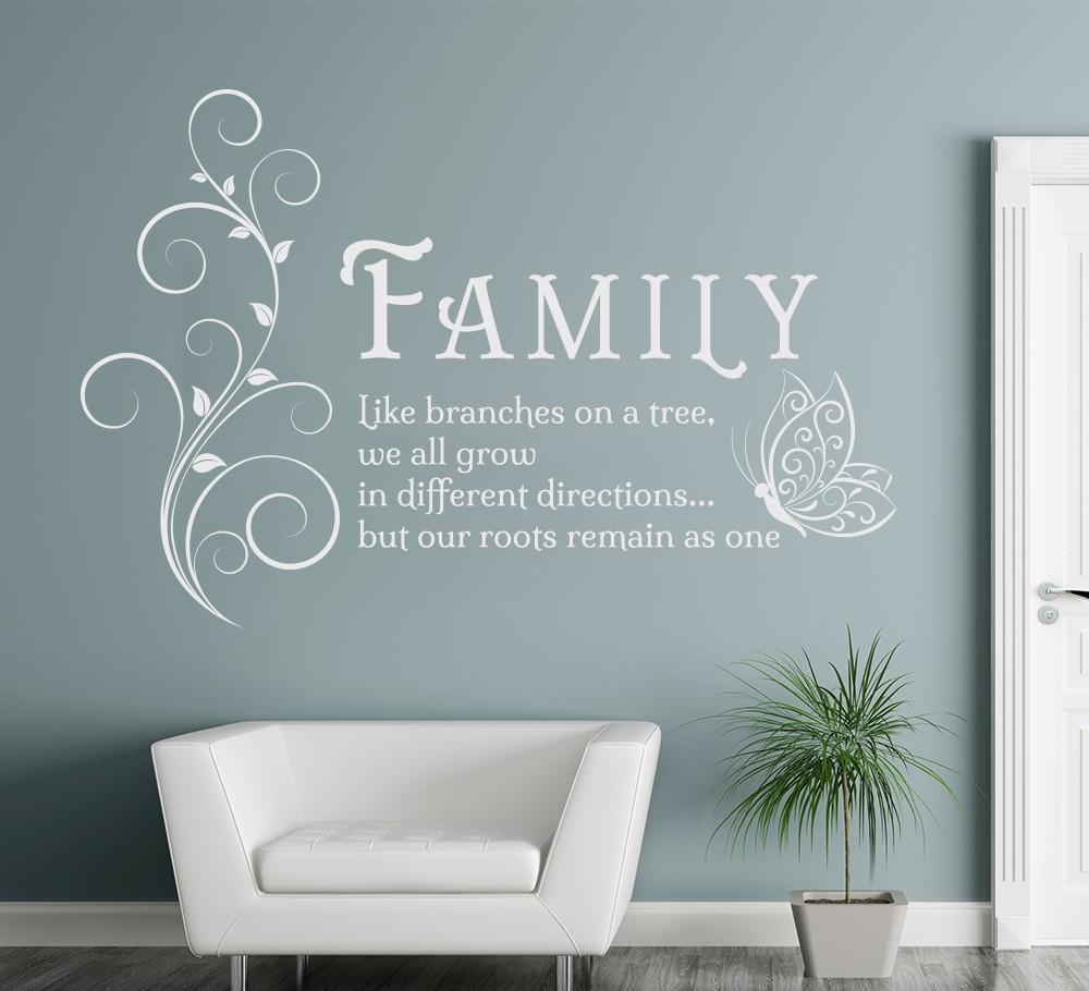 Aliexpress : Buy Family Like Branches Quotes Butterfly Vinyl With Regard To Italian Phrases Wall Art (Image 7 of 20)