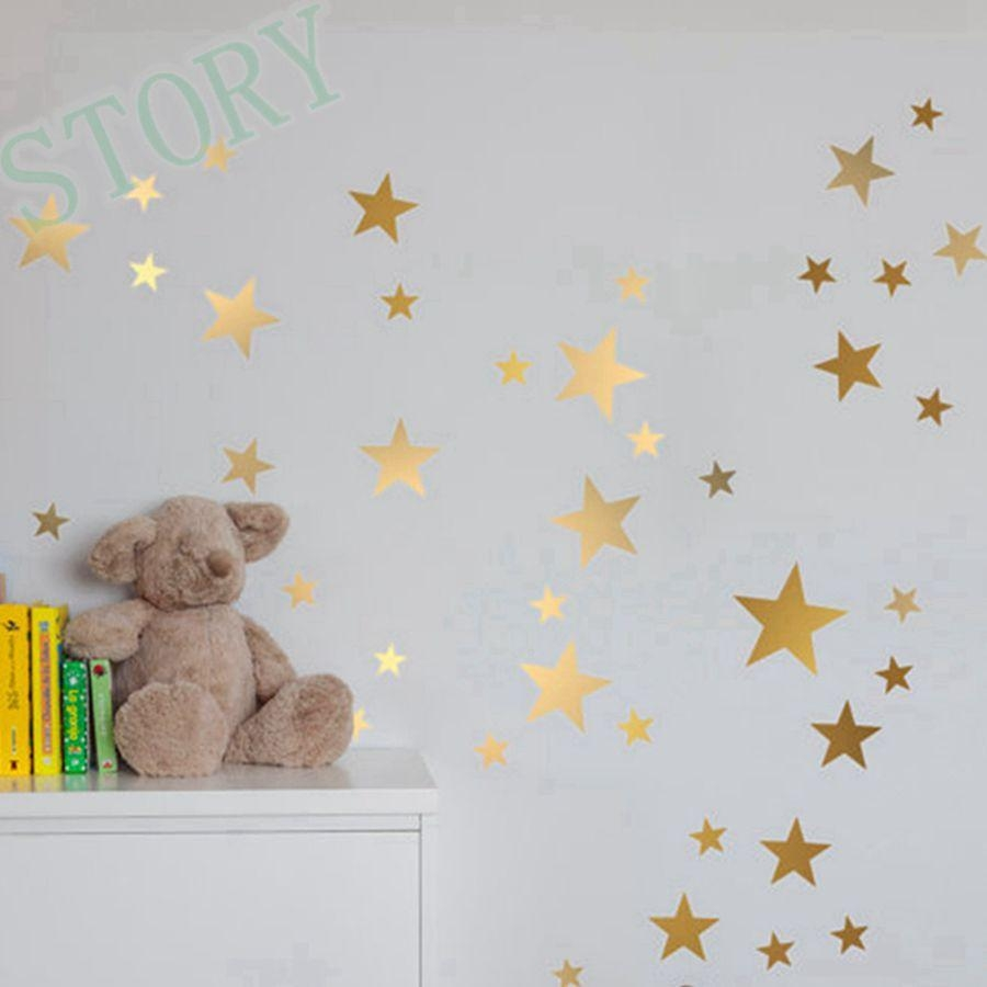 Aliexpress : Buy Gold Stars Wall Decal Vinyl Stickers Golden For Gold Wall Art Stickers (Image 3 of 20)