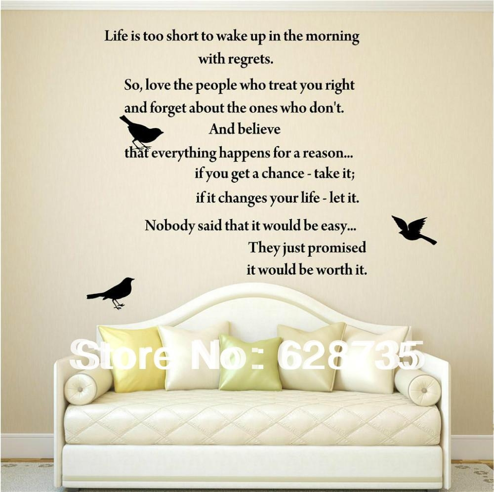 Aliexpress : Buy Life Is Too Short Inspirational Poems Wall With Regard To Italian Phrases Wall Art (Image 9 of 20)