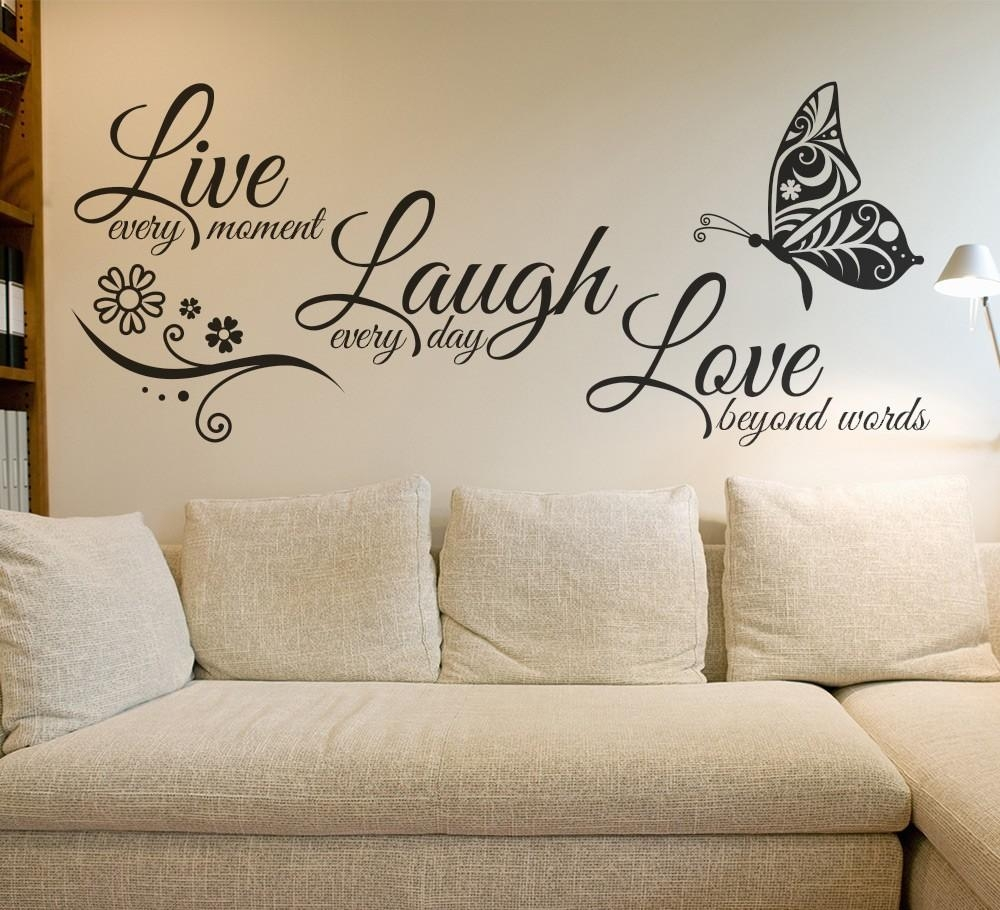 Aliexpress : Buy Live Laugh Love Butterfly Flower Wall Art Throughout Italian Phrases Wall Art (View 6 of 20)